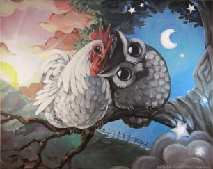 morning_rooster_and_night_owl_by_bezzalair-d6is1ry